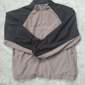 Adidas Mens Climaproof  Taupe and Black Windbreaker Pullover Jacket